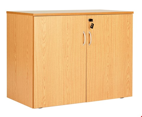 Lot 12055 BRAND NEW BOXED WORKMODE DOUBLE DOOR 72 DESK END CUPBOARD - BEECH(2 BOXES)