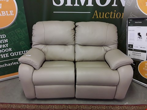 Lot 8003 QUALITY DESIGNER BRITISH MADE WOODEN FRAME MUSHROOM LEATHER ELECTRIC RECLINING 2 SEATER SOFA