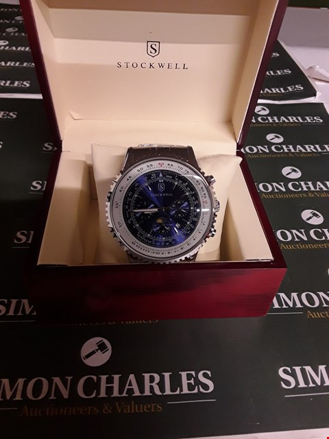 Lot 133 BRAND NEW, DESIGNER MEN'S STOCKWELL AUTOMATIC WATCH, MOONPHASE DIAL FOR AM/PM INDICATOR, BLUE DIAL, STAINLESS STEEL STRAP