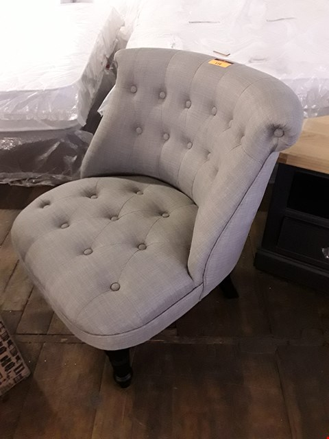 Lot 116 DESIGNER GREY FABRIC SCROLL BACK OCCASIONAL CHAIR