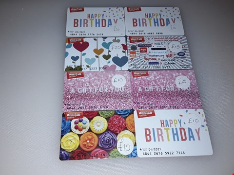 Lot 14 8 ONE4ALL GIFT CARDS.  TOTAL VALUE £170