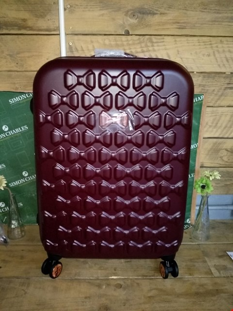 Lot 7033 TED BAKER MAROON MEDIUM SUITCASE