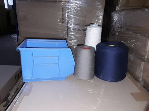 Lot 10002 PALLET OF ASSORTED SPOOLS OF THREAD IN GREY, NAVY AND WHITE AND A BOX OF LINBIN BLUE STORAGE BINS