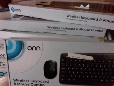 Lot 1462 LOT OF 6 ONN WIRELESS KEYBOARD AND MOUSE COMBO PACKS