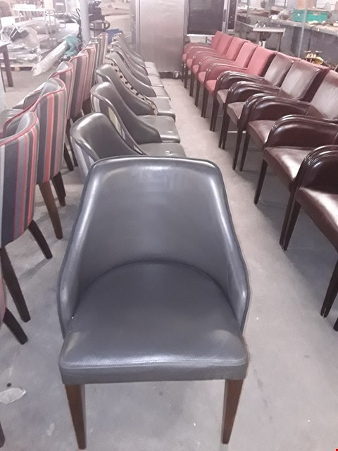 Lot 15 APPROXIMATELY 9 GREY LEATHER EFFECT CHAIRS WITH FABRIC BACK