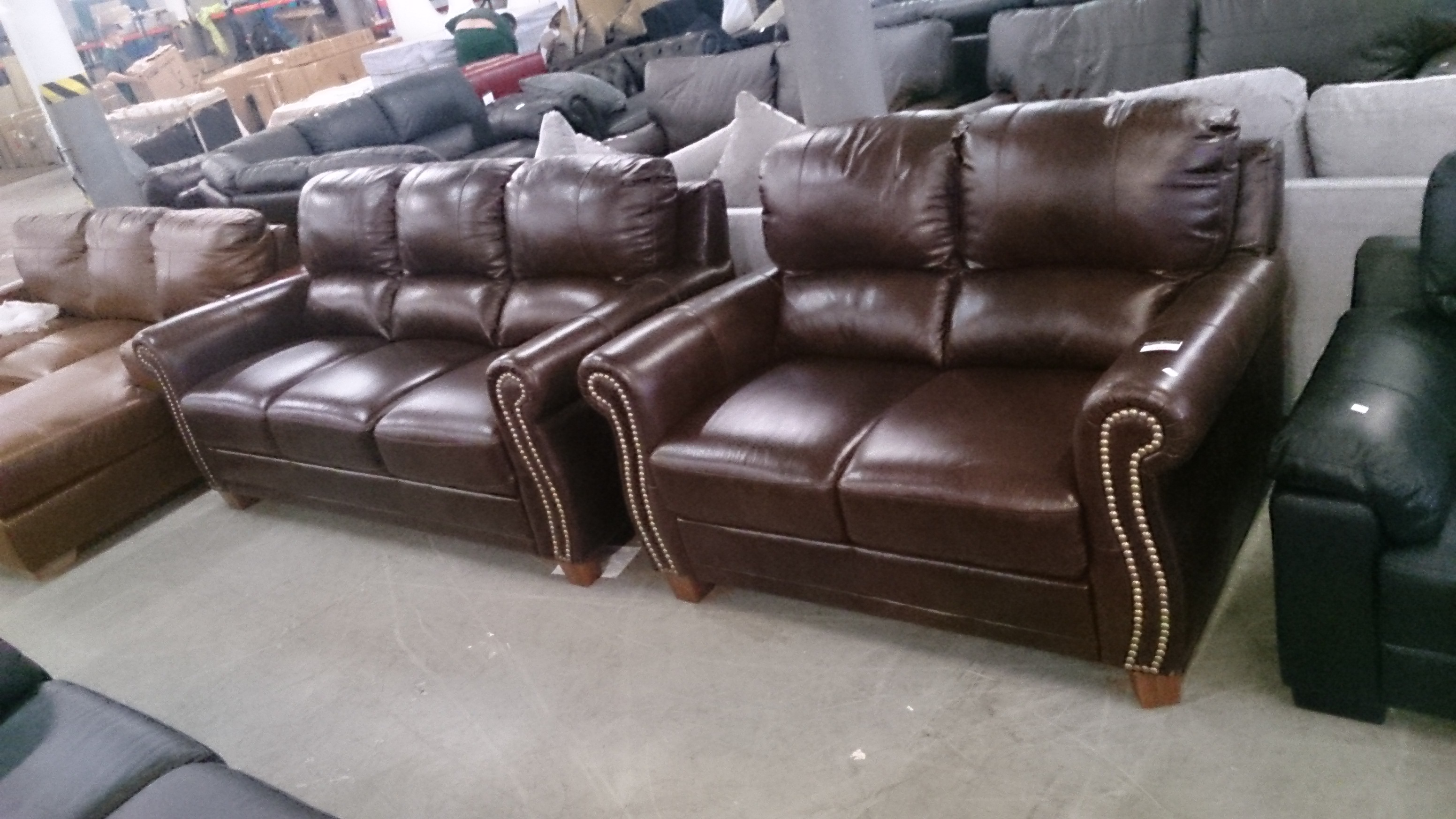 Designer brown leather 3 seater sofa and 2 seater sofa for Brown leather couch with studs