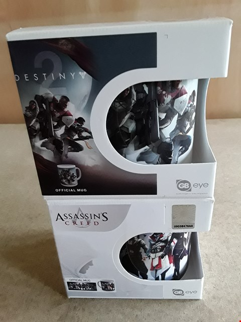 Lot 24 2 BRAND NEW BOXED ASSORTED GAMING MUGS TO INCLUDE DESTINY 2 MUG, ASSASSIN'S CREED MUG