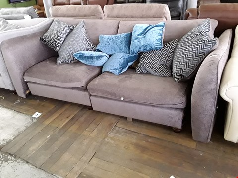 Lot 69 DESIGNER PIPER NUTMEG FABRIC THREE SEATER SOFA WITH SCATTER CUSHIONS RRP £2000