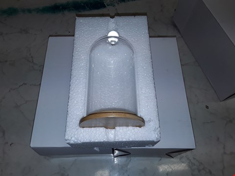 Lot 4451 LOT OF 3 BELL SHAPED LIFT OFF GLASS DISPLAYS ON WOODEN BASES