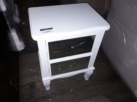 Lot 12257 DESIGNER WHITE/MIRRORED TWO DRAWER BEDSIDE TABLE