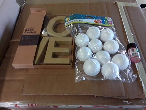 Lot 1137 A BOX OF APPROXIMATELY 14 ASSORTED CRAFT ITEMS TO INCLUDE A EASY MARBLE MARBLE PAINT, A BAG OF POLYSTYRENE BALLS AND BARE BASICS 3D LETTERS
