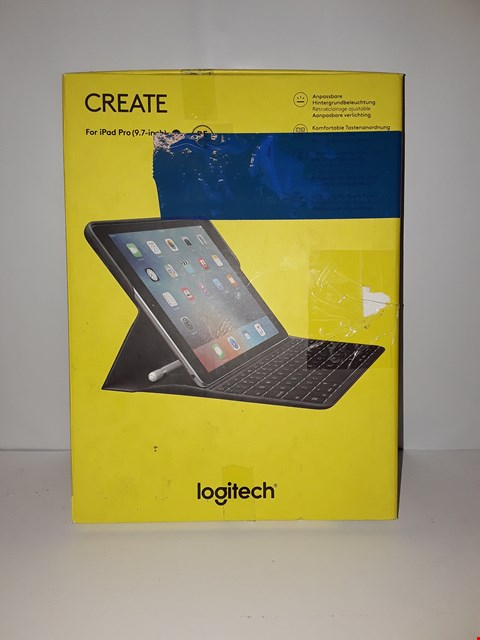 Lot 4045 LOGITECH IPAD PRO 9.7-INCH KEYBOARD CASE, CREATE WITH BACKLIT WIRELESS KEYBOARD AND SMART CONNECTOR 1ST GENERATION (QWERTZ GERMAN LAYOUT) - BLACK