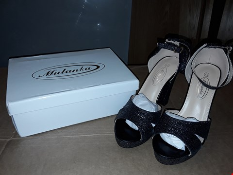 Lot 11 BOXED MULANKA WOMENS BLACK GLITTER HIGH HEELS SIZE 7UK/40EUR