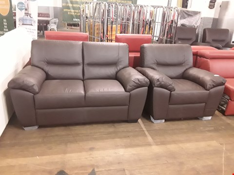 Lot 160 BRAND NEW QUALITY DESIGNER ITALIAN DARK BROWN LEATHER TWO-SEATER SOFA AND ARMCHAIR