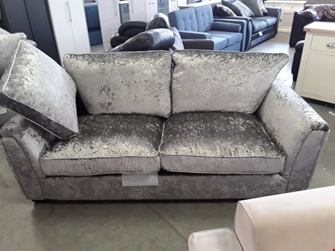 Lot 337 DESIGNER SILVER CRUSHED VELVET 3 SEATER SOFA
