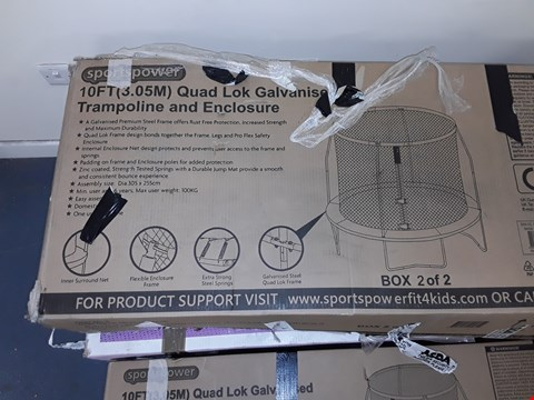 Lot 7055 SPORTSPOWER 10FT QUAD LOK GALVANISED TRAMPOLINE AND ENCLOSURE (2 BOXES)