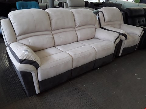 Lot 22 DESIGNER TWO TONE SUEDE FABRIC MANUAL RECLING SUITE, COMPRISING THREE SEATER SOFA & EASY CHAIR
