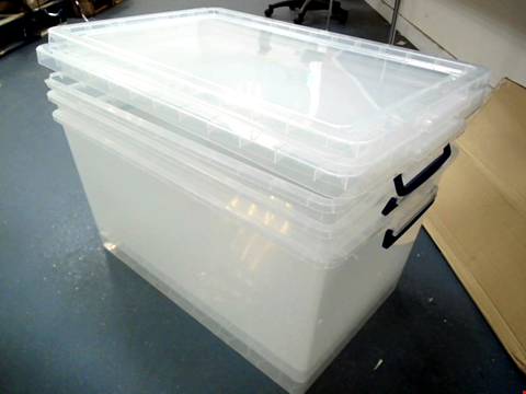Lot 15207 REALLY USEFUL PRODUCTS 83 LITRE BOX PACK OF 3 - NESTABLE CLEAR