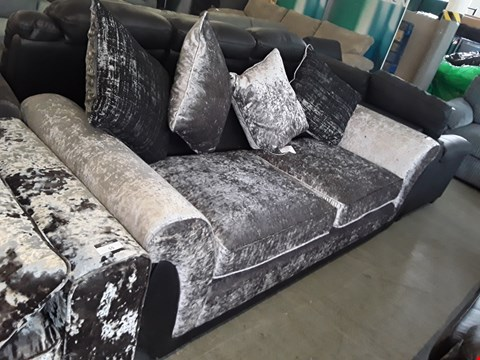 Lot 54 DESIGNER BLACK FAUX LEATHER AND SILVER CRUSHED VELVET 3 SEATER SOFA WITH SCATTER BACK CUSHIONS