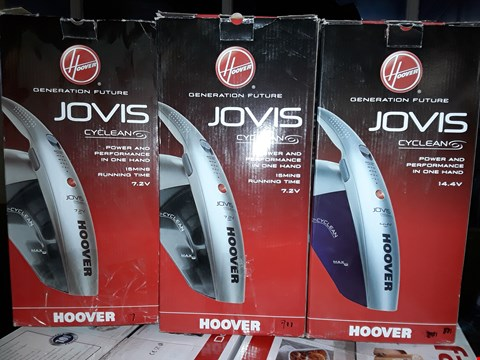 Lot 6 LOT OF 3 HOOVER HAND VACUUM PRODUCTS TO INCLUDE JOVIS CYCLEAN 14.4V, JOVIS CYCLEAN 7.2V