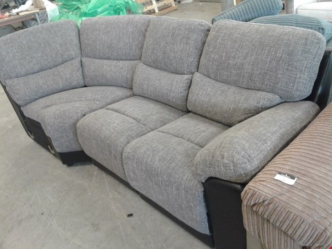 Lot 17 TWO DESIGNER BLACK FAUX LEATHER AND GREY FABRIC SOFA SECTIONS