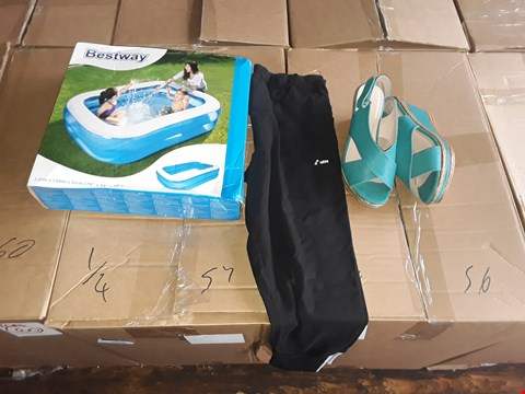 Lot 2511 4 BOXES OF APPROXIMATELY 200 ASSORTED  ITEMS INCLUDING BEST WAY INFLATABLE FAMILY POOL, BLACK ADIDAS 3 STRIPES LEGGING AND TEAL CUSHION WALK WEDGE SANDALS - VARIOUS SIZES