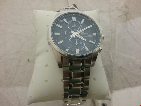 Lot 55 CASIO EDIFICE SAPPHIRE CRYSTAL BLUE MULTI DIAL STAINLESS STEEL MENS WATCH RRP £249