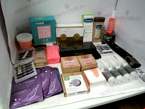 Lot 11062 LOT OF ASSORTED HEALTH & BEAUTY PRODUCTS TO INCLUDE: VASELINE BODY GEL OIL, HAND THERAPY COLLAGEN INFUSED GLOVES, WARMING DETOX CHARCOAL HAND WASH, ASSORTED BATHROOM & COSMETICS PRODUCTS