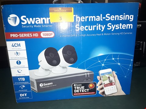 Lot 3 SWANN 4 CHANEL 1080P SMART THERMAL SENDING SECURITY SYSTEM ( 2 HD CAMERAS) RRP £339.00