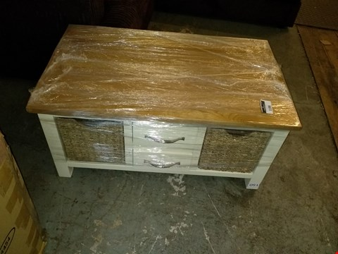 Lot 1198 DESIGNER WHITE 2 + 2 DRAWER TV UNIT WITH WICKER BASKET DRAWERS AND NATURAL WOOD EFFECT TOP