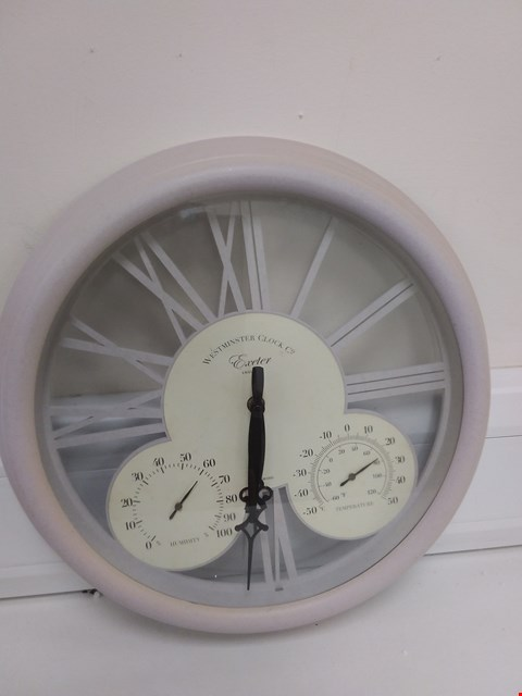 Lot 9040 BOXED  EXETER WALL CLOCK & THERMOMETER  RRP £40.00