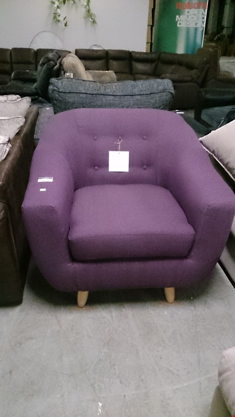 Lot 1234 DESIGNER PURPLE FABRIC BUTTON BACK ARM CHAIR