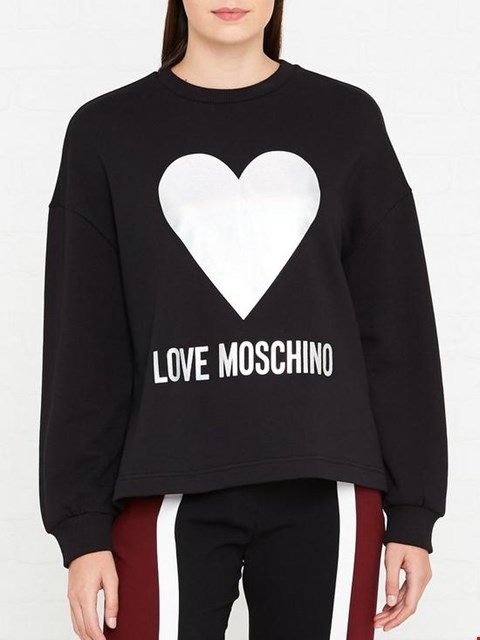 Lot 7122 LOVE MOSCHINO FOIL HEART LOGO BLACK SWEATSHIRT - SIZE 8 UK