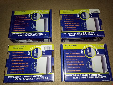 Lot 2259 LOT OF 4 PACKS OF TROY UNIVERSAL HOME CINEMA WALL SPEAKER MOUNTS