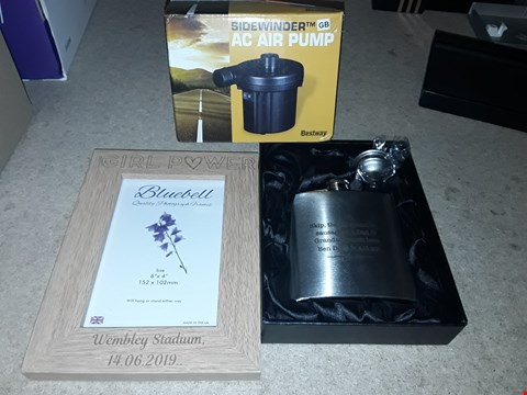 Lot 9299 BOX OF APPROXIMATELY 10 ASSORTED HOME AND PERSONALISED ITEMS TO INCLUDE SIDEWINDER AC AIR PUMP, PERSONALISED STAINLESS STEEL HIP FLASK AND GIRL POWER PHOTO FRAME  RRP £196.00