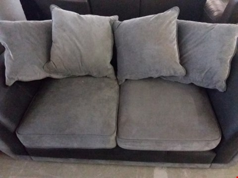 Lot 23 DESIGNER DANUBE BLACK FAUX LEATHER AND GREY FABRIC 2 SEATER SOFA