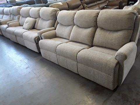 Lot 135 QUALITY BRITISH DESIGNER HARDWOOD FRAMED NATURAL FABRIC SUITE, COMPRISING, FIXED THREE SEATER SOFA,  POWER RECLINING THREE SEATER SOFA & POWER RISE & RECLINE EASY CHAIR
