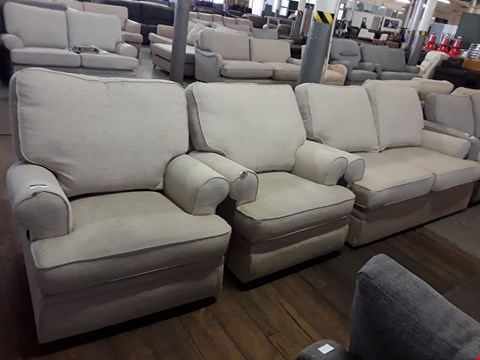 Lot 231 QUALITY BRITISH DESIGNER BEIGE FABRIC 2 SEATER SOFA, MANUAL RECLINING ARMCHAIR AND POWER RECLINING ARMCHAIR