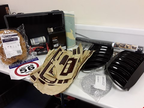 Lot 111 TRAY ASSORTED ITEMS, PAIR BLACK BMW GRILLS, PAIR CHROME SPOT GUARDS, MER POLISH, SHERPSKIN WASH MITT, WALNUT EFFECT TRIM PARTS (UNKNOWN) JOHN DEERE STICKER, (TRAY NOT INCLUDED)