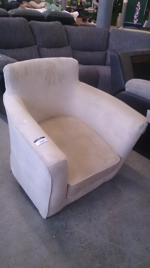 Lot 1258 DESIGNER BEIGE FABRIC TUB CHAIR