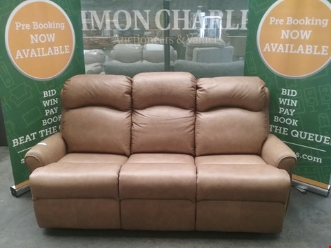 Lot 1 QUALITY BRITISH MADE HARDWOOD FRAMED BROWN LEATHER 3 SEATER SOFA