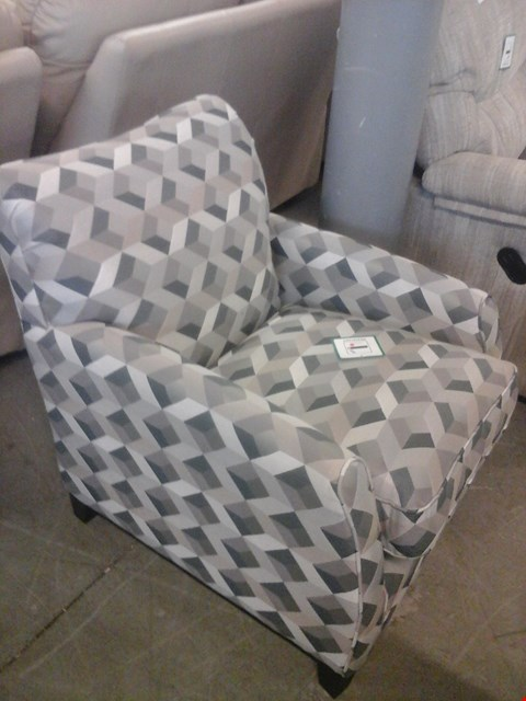 Lot 11 QUALITY BRITISH MADE HARDWOOD FRAMED GEOMETRIC FABRIC CHAIR