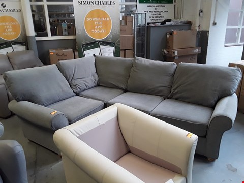 Lot 158 QUALITY BRITISH DESIGNER GREY FABRIC CORNER SOFA