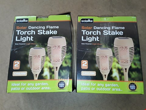 Lot 6056 LOT OF 2 SOLALITE SOLAR DANCING FLAME TORCH STAKE LIGHTS
