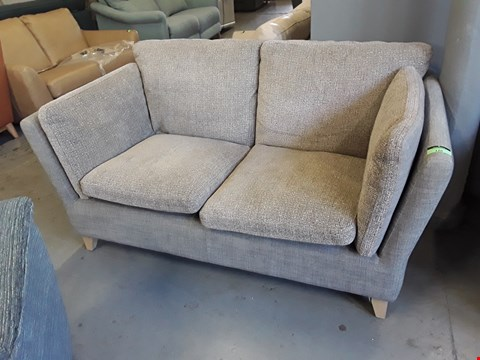 Lot 120 QUALITY BRITISH DESIGNER HARDWOOD FRAMED TWO TONE SMOKED FABRIC RETTO STYLE TWO SEATER SOFA