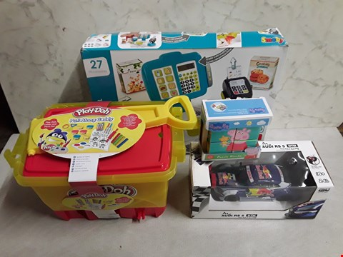 Lot 4083 LOT OF 4 ASSORTED TOYS TOY ITEMS TO INCLUDE PLAYDOH, RC AUDI AND PEPPA PIG PUZZLE BLOCK