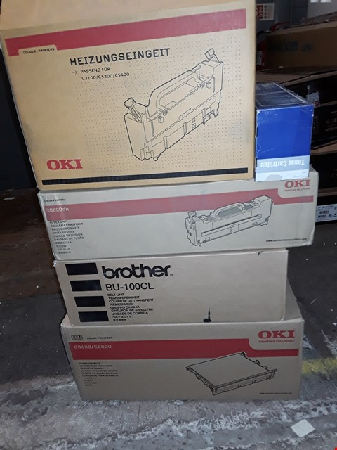 Lot 184 LOT OF 5 ASSORTED PRINTER PARTS TO INCLUDE BROTHER BELT UNIT, OKI TRANSFER BELT AND OKI FUSER UNIT (5 BOXES)