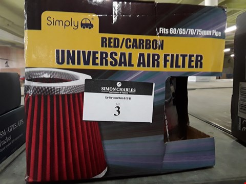 Lot 3 BOXED SIMPLY RED CARBON UNIVERSAL AIR FILTER