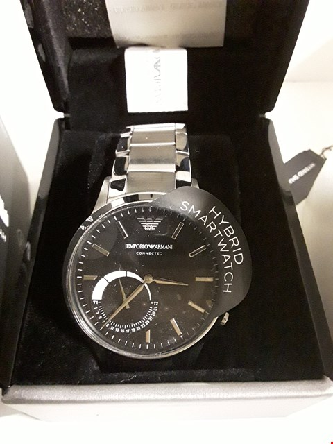 Lot 150 EMPORIO ARMANI CONNECTED SILVER STAINLESS STEEL HYBRID SMARTWATCH RRP £390