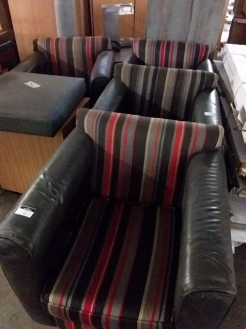 Lot 59 LOT OF 4 ASSORTED FAUX LEATHER AND STRIPED FABRIC ARMCHAIRS